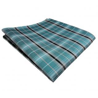 schönes Einstecktuch türkis mint grün silber schwarz gestreift - Tuch Polyester