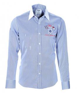 Pontto Designer Hemd Shirt in blau weiß gestreift langarm Modern-Fit Gr.M