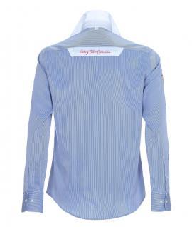 Pontto Designer Hemd Shirt in blau weiß gestreift langarm Modern-Fit Gr.M - Vorschau 2