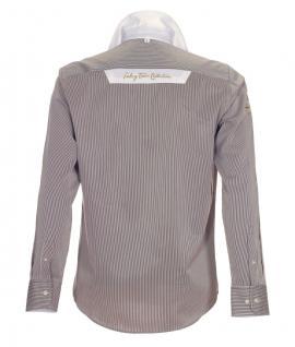 Pontto Designer Hemd Shirt in braun weiß gold gestreift langarm Modern-Fit Gr.M - Vorschau 2