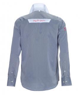Pontto Designer Hemd Shirt in blau weiß gestreift langarm Modern-Fit Gr.S - Vorschau 2