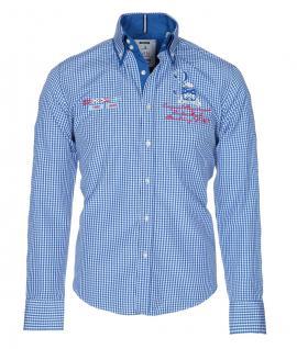 Pontto Designer Hemd Shirt in blau weiß kariert langarm Modern-Fit Gr.M