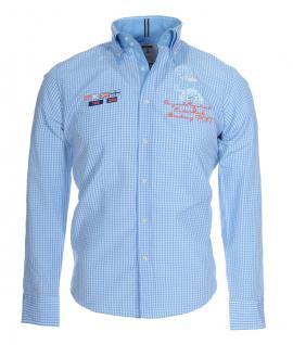 Pontto Designer Hemd Shirt blau hellblau weiß kariert langarm Modern-Fit Gr.3XL