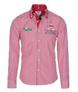 Pontto Designer Hemd Shirt in rot weiß kariert langarm Modern-Fit Gr.3XL