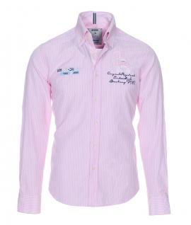 Pontto Designer Hemd Shirt in rosa weiß kariert langarm Modern-Fit Gr.S