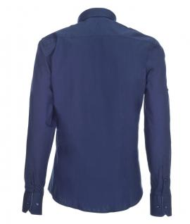 Pontto Designer Hemd Shirt in blau marine einfarbig langarm Modern-Fit Gr. M - Vorschau 2