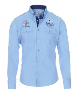 Pontto Designer Hemd Shirt in blau hellblau einfarbig langarm Modern-Fit Gr. L