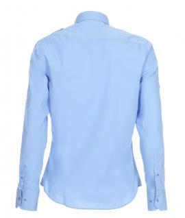 Pontto Designer Hemd Shirt in blau hellblau einfarbig langarm Modern-Fit Gr. L - Vorschau 2