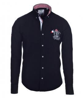 Pontto Designer Hemd Shirt in schwarz einfarbig langarm Modern-Fit Gr. L