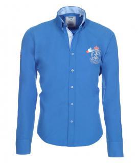 Pontto Designer Hemd Shirt in blau himmelblau einfarbig langarm Modern-Fit Gr. L