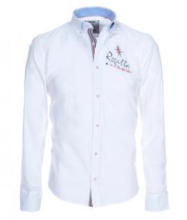 Pontto Designer Hemd Shirt in weiß einfarbig langarm Modern-Fit Gr. M