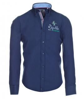 Pontto Designer Hemd Shirt in blau marine einfarbig langarm Modern-Fit Gr. L