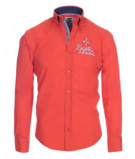 Pontto Designer Hemd Shirt orange rotorange einfarbig langarm Modern-Fit Gr. L