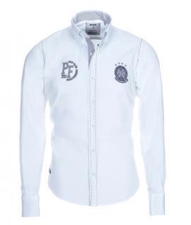 Pontto Designer Hemd Shirt in weiß schwarz grau langarm Modern-Fit Gr.S