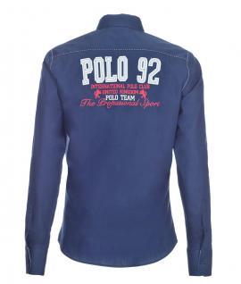 Pontto Designer Hemd Shirt in blau marine rot weiß langarm Modern-Fit Gr. M - Vorschau 2