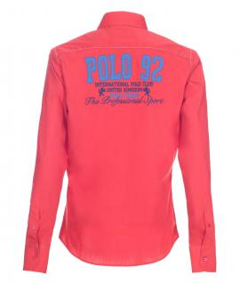 Pontto Designer Hemd Shirt in rot blau weiß langarm Modern-Fit Gr. M - Vorschau 2