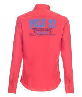 Pontto Designer Hemd Shirt in rot blau weiß langarm Modern-Fit Gr.S - Vorschau 2