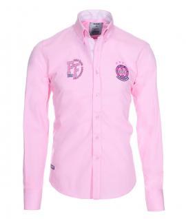 Pontto Designer Hemd Shirt in rosa pink blau weiß langarm Modern-Fit Gr. M