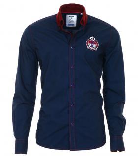 Pontto Designer Hemd Shirt in blau dunkelblau bordeaux langarm Modern-Fit Gr. M