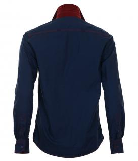 Pontto Designer Hemd Shirt in blau dunkelblau bordeaux langarm Modern-Fit Gr.S - Vorschau 2