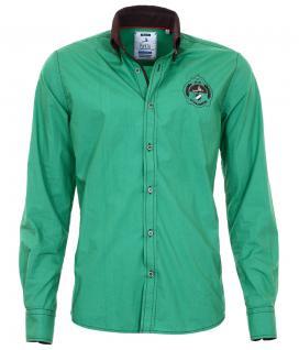 Pontto Designer Hemd Shirt in grün braun dunkelbraun langarm Modern-Fit Gr.S