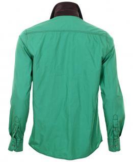 Pontto Designer Hemd Shirt in grün braun dunkelbraun langarm Modern-Fit Gr. M - Vorschau 2