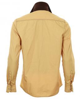 Pontto Designer Hemd Shirt in gelb ocker braun langarm Modern-Fit Gr. 3XL - Vorschau 2