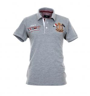 Pontto Herren Designer Polo Hemd Shirt grau kurzarm Gr. M - Polohemd Poloshirt