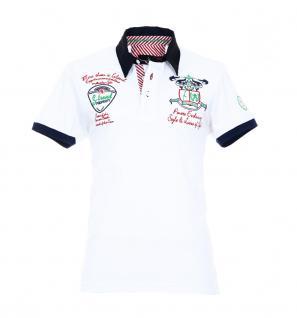 Pontto Herren Designer Polo Hemd Shirt weiß kurzarm Gr. S - Polohemd Poloshirt