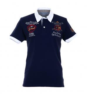 Pontto Herren Designer Polo Hemd Shirt blau kurzarm Gr. M - Polohemd Poloshirt