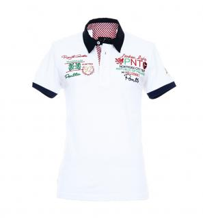 Pontto Herren Designer Polo Hemd Shirt weiß kurzarm Gr. M - Polohemd Poloshirt