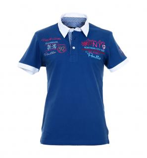 Pontto Herren Designer Polo Hemd Shirt blau kurzarm Gr. L - Polohemd Poloshirt