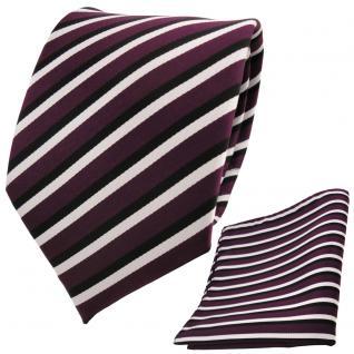 schöne TigerTie Krawatte + Einstecktuch violett lila schwarz weiß gestreift