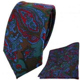schmale TigerTie Krawatte + Einstecktuch rot blau flieder grün Paisley gemustert
