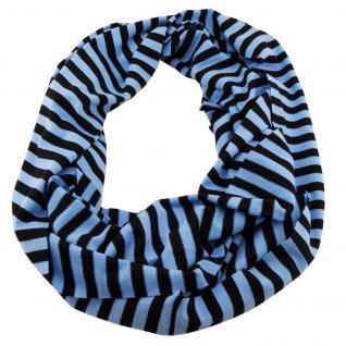 Loop Schal Schlauchschal Rundschal Tubeschal blau schwarz gestreift - 164 x27 cm
