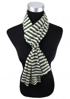 Damen Schal in grün weiß gestreift Gr. 172 cm x 27 cm - Halstuch Tuch
