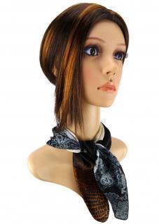 Nickituch Satin schwarz braun beige silber gemustert - Größe 50x50 cm - Halstuch