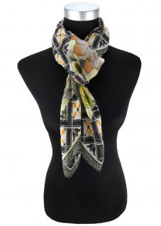 Damen Halstuch in gelb orange grau graublau schwarz geblümt - Größe 100x100 cm