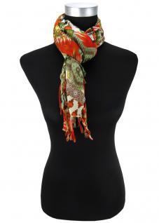 Halstuch in orange rot grau schwarz olive grün braun gemustert mit Fransen
