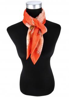 Damen Halstuch orange beige rot braun mehrfarbig mit Totenkopfmotiven gemustert