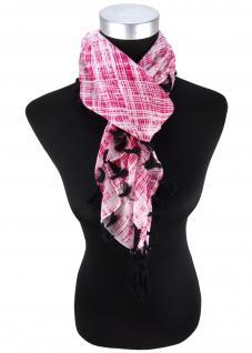 Halstuch in pink weissgrau schwarz gemustert mit Fransen - Tuch Gr. 100 x 100 cm