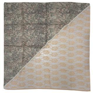 Halstuch in lachs altrosa beige braun geblümt gemustert - Tuch Gr. 100 x 100 cm - Vorschau 2