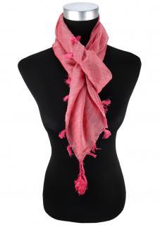 Halstuch rose einfarbig Fransen und Tusseln an den Ecken -Schal Gr. 100 x 100 cm