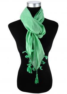 Halstuch grün einfarbig Fransen und Tusseln an den Ecken -Schal Gr. 100 x 100 cm
