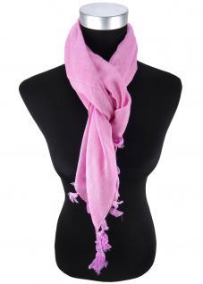 Halstuch rosa einfarbig Fransen und Tusseln an den Ecken -Schal Gr. 100 x 100 cm