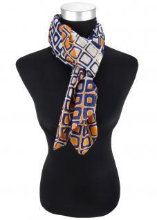 Designer Halstuch in orange grau schwarzblau Karo gemustert - Größe 100 x 100 cm