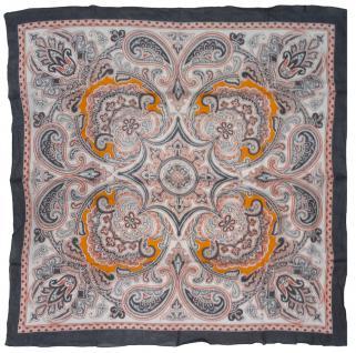 Halstuch in rot orange grau Paisley gemustert - Tuch Größe 100 x 100 cm