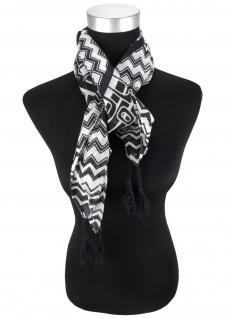 Halstuch in grau schwarz gemustert mit Tusseln an den Ecken - Gr. 100 x 100 cm