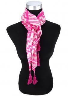 Halstuch in pink grauweiss gemustert mit Tusseln an den Ecken - Gr. 100 x 100 cm