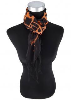 Desigern Halstuch orange schwarz gemustert mit langen Fransen - Größe 90 x 90 cm